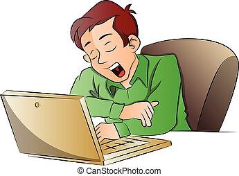 bostezando, laptop., mientras, vector, utilizar, hombre de negocios