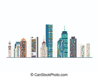 Boston abstract skyline - Vector graphics, flat city...