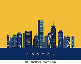 boston, abstrakcyjny, sylwetka na tle nieba