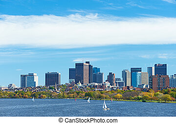 Boston and Charles river view from Harvard Bridge