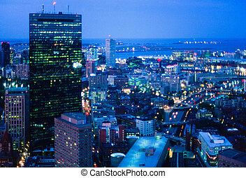 Boston at night - Night aerial of Boston's Hancock Tower and...