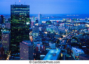 Boston at night - Night aerial of Boston's Hancock Tower and...