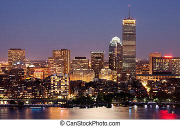 Boston Back Bay - Boston's Back Bay skyline at dusk, aerial