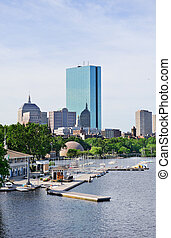 Boston back bay with sailing boat and urban building city...