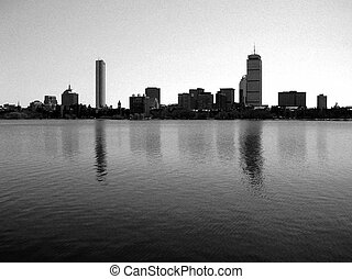 Boston - Back Bay skyline along the Charles River.