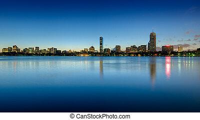 Boston back bay skyline seen at dawn - Skyline of Boston's...