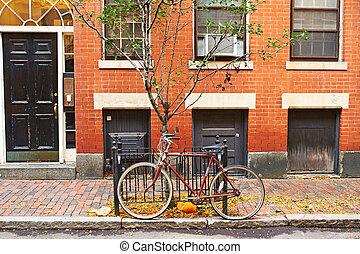 Boston, baliza, rua, colina, vizinhança