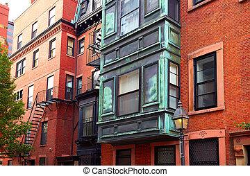 Boston Beacon Hill brick wall facades Massachusetts