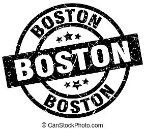 Boston black round grunge stamp
