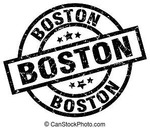 Boston black round grunge stamp