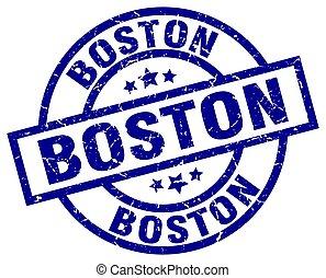 Boston blue round grunge stamp