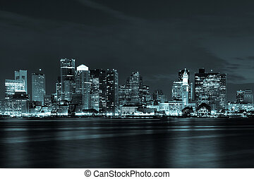 boston, boston, skyline, massachusetts, nacht, osten
