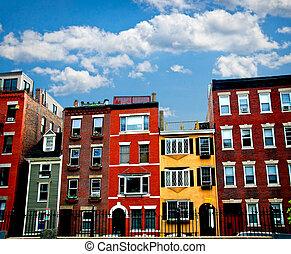 Boston buildings - Row of brick houses in Boston historical...