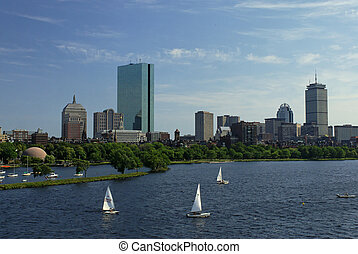 boston by the charles - View of the boston skyline from...