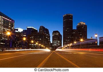 boston, calles, noche