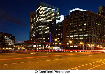 boston, calles, por, noche