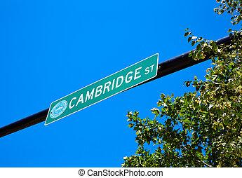 Boston Cambridge street sign Massachusetts