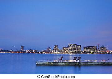 Boston Charles River Basin at night