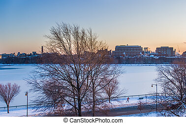 Boston Charles River frozen - Boston's Charles River frozen...