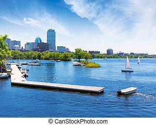 boston, charles rivière, esplanade, voiliers