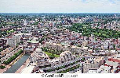 Boston city aerial panorama