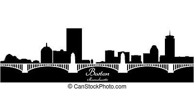 boston city skyline black and white