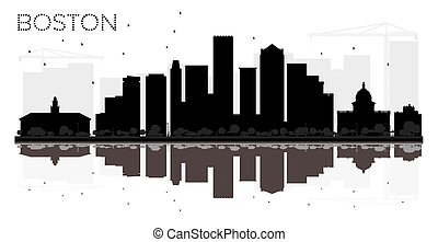 Boston City skyline black and white silhouette with reflections.