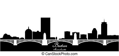 boston city skyline black and white