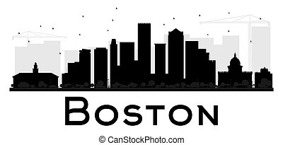 Boston City skyline black and white silhouette.