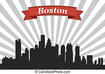 Boston city skyline with rays background and ribbon