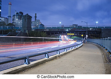 Boston city streets at night