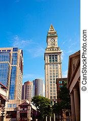 Boston Clock tower Custom House Quincy Market