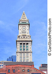 Boston clock tower in downtown