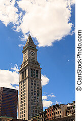 Boston Clock Tower Under Cloudy Sky