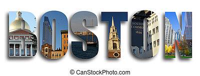 Boston collage on white