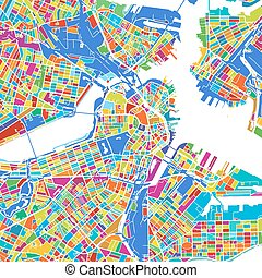 Boston Colorful Vector Map, printable outline Version, ready...