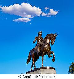 Boston Common George Washington monument at Massachusetts...