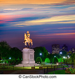 Boston Common George Washington monument sunset at ...