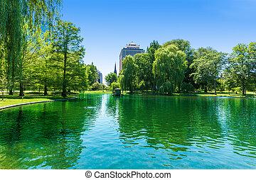 Boston Common lake and skyline in Massachusetts