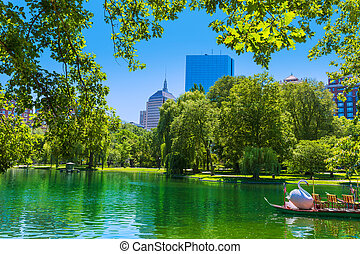 Boston Common lake and skyline in Massachusetts