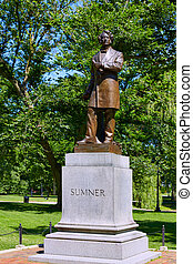 Boston Common park Sumner monument