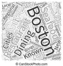 boston, concept, mot, nuage, dîner