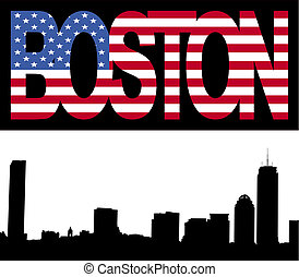 boston, contorno, con, bandera, texto