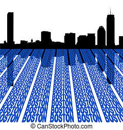 boston, contorno, con, texto