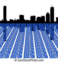boston, contorno, texto