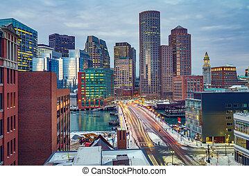 Boston downtown at morning