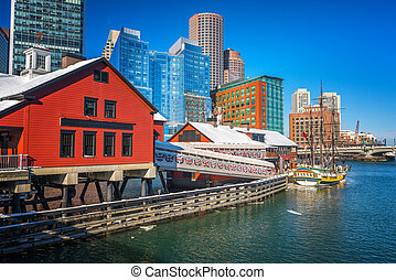 Boston downtown at sunny winter day