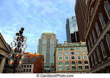 Boston downtown - Buildings in downtown Boston on a bright ...