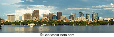 Panoramic image of Boston's Downtown skyline with the Charles river in the foreground