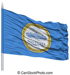 Boston Flag on Flagpole, Waving on White Background